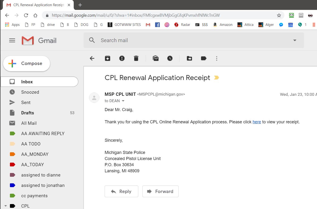 cpl renewal michigan msp receipt email training certification survey